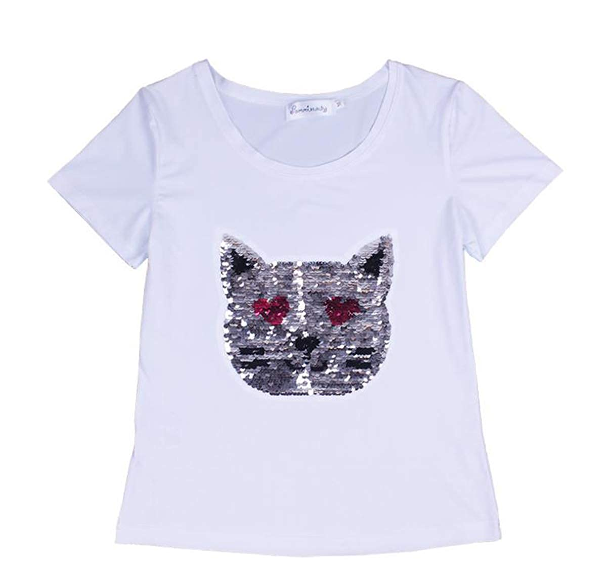 YueLian Womens Sequined Animals Casualwear Pullover Crewneck T-Shirt Top