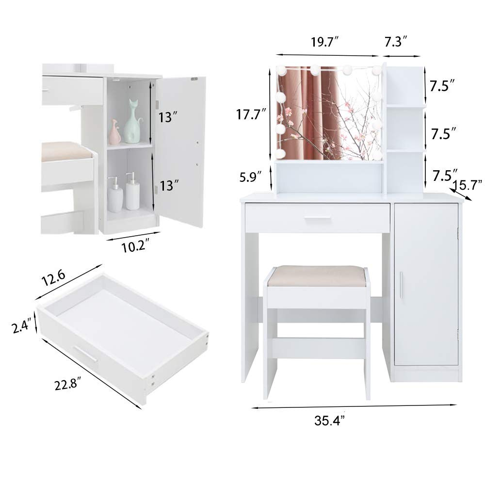 1 Storage Cabinet,1 Cushioned Stool for Bedroom Bathroom,White 1 Large Drawer Makeup Table Vanity Dressing Table Vanity Set with 10 Light Bulbs
