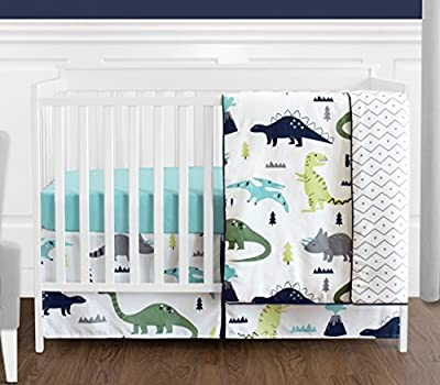 Navy Blue and Green Modern Dinosaur Baby Boys or Girls 4 Piece Crib Bedding Set Without Bumper