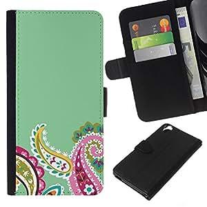 KLONGSHOP // Tirón de la caja Cartera de cuero con ranuras para tarjetas - Diseño floral verde rosado del resorte - HTC Desire 820 //