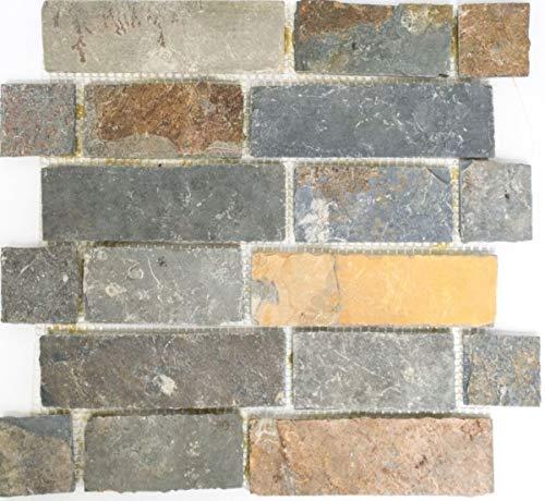 Mosaik Fliese Schiefer Naturstein Brick braun rost K/üchenr/ückwand Spritzschutz MOS34-1204