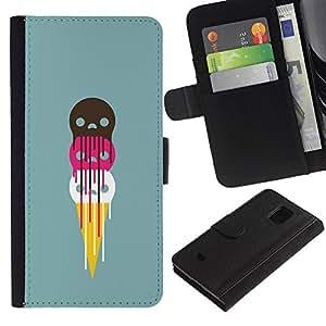 Billetera de Cuero Caso Titular de la tarjeta Carcasa Funda para Samsung Galaxy S5 Mini, SM-G800, NOT S5 REGULAR! / Cute Ice Cream Skulls / STRONG