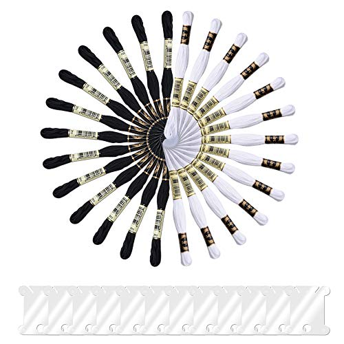 Onepine 26 Skeins Black White Embroidery Threads Including 13 Black and 13 White Embroidery Floss 100% Cotton with 12 Pieces Floss Bobbins Perfect for Friendship Bracelets