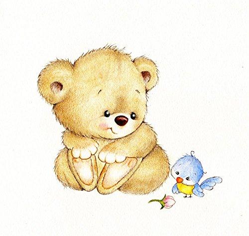 Wallmonkeys Cute Teddy Bear and Bird Peel and Stick Wall ...