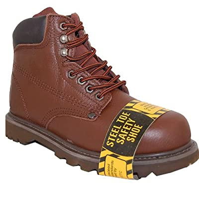SHOE ARTISTS RUGGED Steel Toe 6 Inch Leather Men's Work Boots, Brown Size7.5   Industrial & Construction Boots