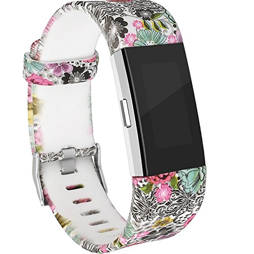 RedTaro Replacement Elastomer Wristband for Fitbit Charge 2, Large (6.5-9.0)-Inches, 212 – Floral Design