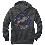 NASA Space Rocket Mens Graphic Lightweight Hoodie,Charcoal Heather,Large