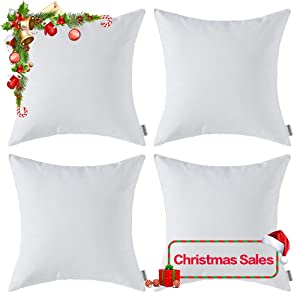 MIULEE Pack of 4 Decorative Outdoor Waterproof Pillow Cover Square Garden Cushion Case PU Coating Throw Pillow Cover Shell for Christmas Tent Park Couch 18x18 Inch Off White