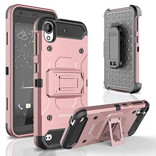 HTC Desire 530 Case, INNOVAA Shockproof Belt Clip Kickstand Holster Dual-Layer Durable Rugged Armor Case W/ Screen Protector & Stylus Pen - Rose Gold