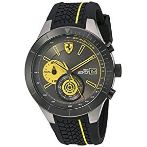 Scuderia Ferrari Men's Quartz Stainless Steel and Silicone Casual Watch, Color:Black (Model: 830342)