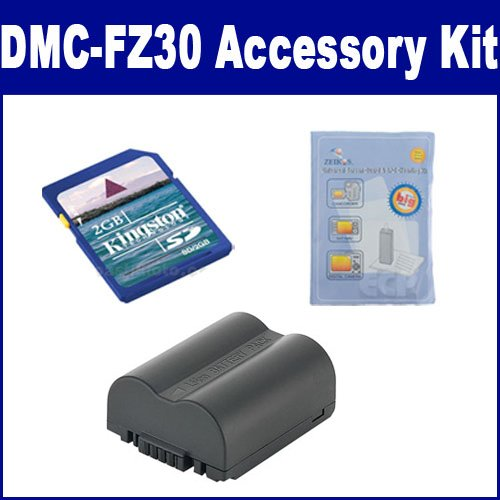 Panasonic Lumix DMC-FZ30 Digital Camera Accessory Kit includes: KSD2GB Memory Card, ZELCKSG Care & Cleaning, SDCGAS006 Battery by Synergy Digital