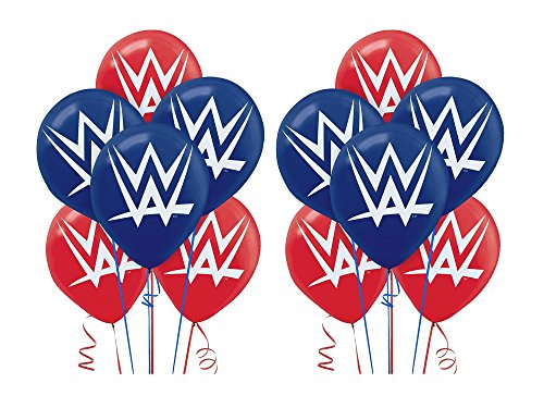 2 Pack of 6 Amscan WWE 12in Latex Balloons bundled by Maven Gifts