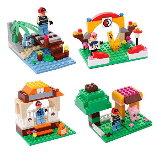 Oliasports Pokemon Series Mini Figure Fits Lego Toys (4 Sets)