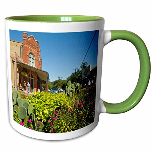 3dRose Danita Delimont - Texas - Historic Dancehall, Gruene, New Braunfels, Texas, USA - US44 LDI0930 - Larry Ditto - 11oz Two-Tone Green Mug - Outlet Braunfels New