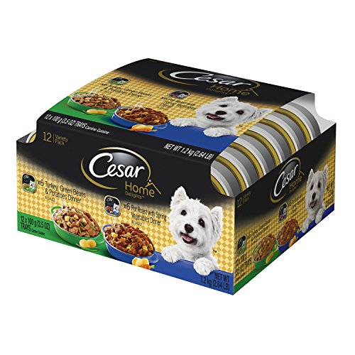 513Lcczp%2BqL - Cesar HOME DELIGHTS Variety Pack Turkey & Pot Roast Wet Dog Food Trays 3.5 oz. (12 Count)