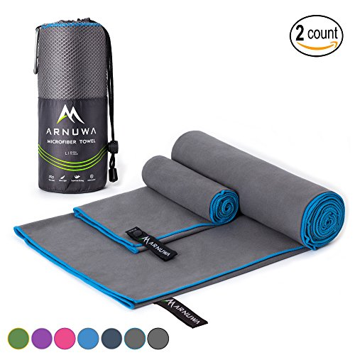 Travel Package (Microfiber Sport Travel Towel Quick Dry Ultra Absorbent Compact Antibacterial, Gray/Blue M)