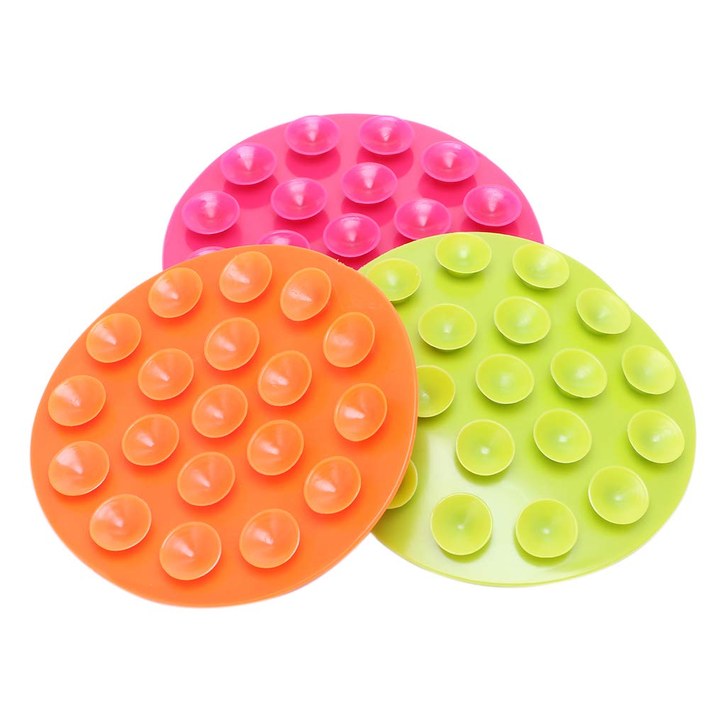 Kimnny Baby Suction Cup Sucker Pad, Baby Feeding Bowl Cup Anti Slip Placemat Double Sided 19 Suction Sucker Mat Pads 1 Piece Colors Randomly