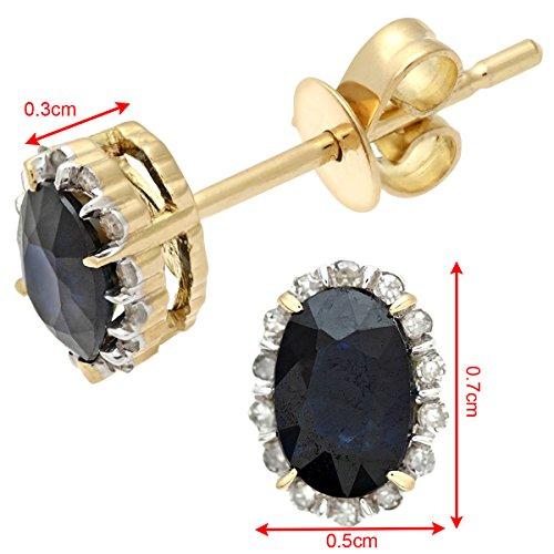 Revoni Bague en or jaune 18carats 0,80carats Saphir ovale et diamants boucles d'oreilles grappe