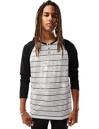 Rebel Canyon Young Men's Long Sleeve Printed Cotton, Baseball Henley Top Medium True Black