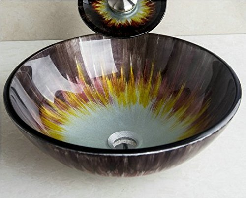 GOWE Above Counter Basin Round Hand-Painted Artistic Vessel Wash Basin Tempered Glass Sink Bathroom Basin by Gowe