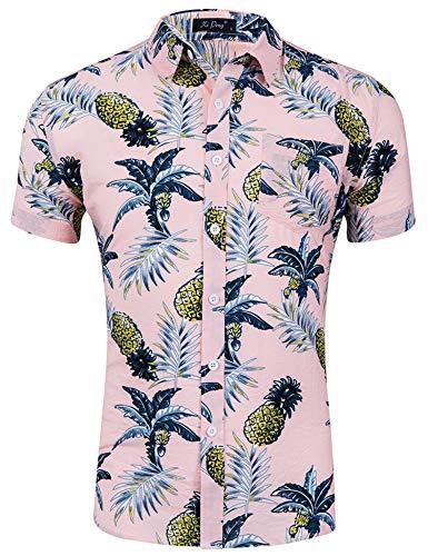 Loveternal Hawaiihemd Herren 3D Druck Blumen Hemd Funky Freizeit Kurzarm Hemden M-XXL