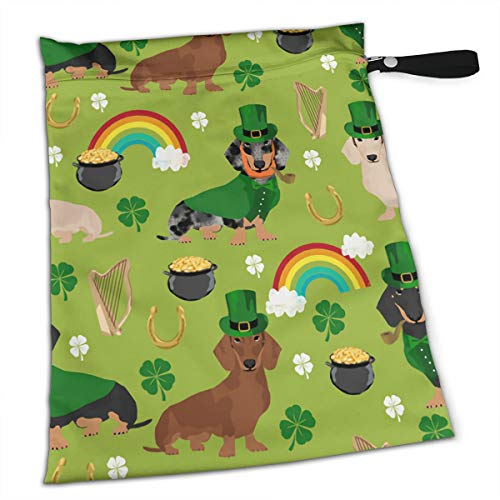 St Patricks Day Leprechaun Dog Daschund Weiner Premium Wet Bag Baby Wet Dry Cloth Diaper Nappy Stroller Bags Waterproof Reusable Wet Bags for Swimsuit Wet Clothes Baby Items with Zipper]()