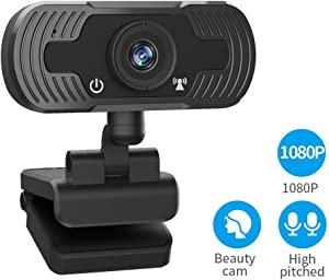 Webcam with Microphone, SDETER Full HD 1080P Web Cameras for Computers, Web Cam for Video Conferencing, YouTube, Recording and Streaming, Computer Camera with 110-Degree View for PC,Desktop or Laptop