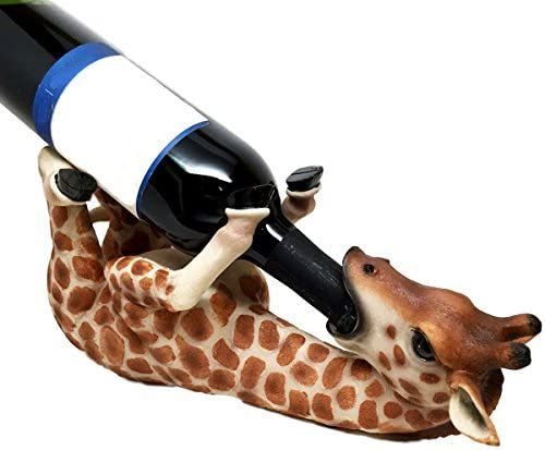 Tall Drink Giraffe Animal Tabletop Single Wine Accessory Bottle Holder Women Shaped Sturdy Sculpture Wine Bottle Holders 13.8x6.7x5.7 Figurine Kitchen Decoration Crafts DORA BRIDAL Wine Holder