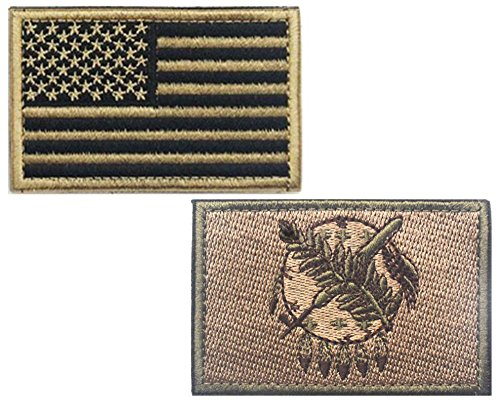 """HHFDA 2 piece US Flag and KB OKLAHOMA Flag Patches Velcro Morale Patches Cloth Fabric Badges Tactical Patches for Cap Jackets (2""""x3"""", Color 4)"""