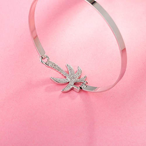 Dwcly Opennable Charm Coconut Tree Bangle Bracelet Fashion Natural Tree Jewelry