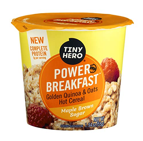 Tiny Hero Power Breakfast Golden Quinoa & Oats Instant Hot Cereal, Maple Brown Sugar, 2 Ounce Cup (8 Count) Heart Healthy, Good Source of Protein, Iron & Fiber