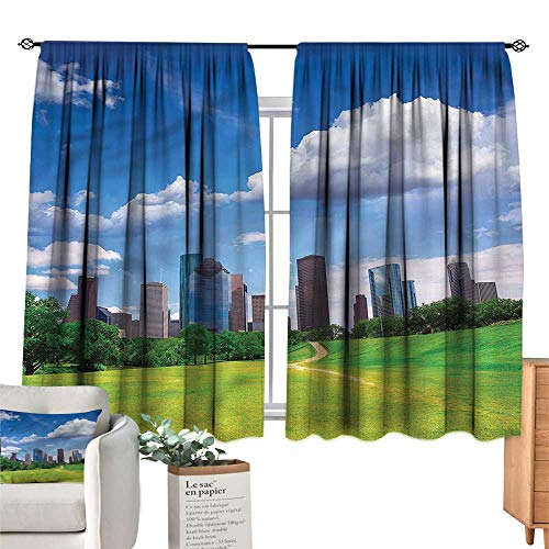 WinfreyDecor USA Blackout Curtains Houston Texas Modern Skyscraper Privacy Protection 72