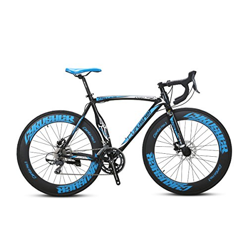 VTSP Upgrade XC700 Road Bike Road Bicycle For Man 56CM 700C 14 Speeds Mechanical Disc Brakes Bicycle Ships From US Warehouse (BLUE) VISP