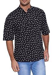 Shalinindia Men Cotton Printed Short Kurta Mandarin Collar ,Black,Size-34 Inch