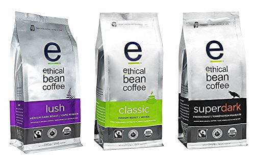 Ethical Bean Coffee, Whole Bean Variety Pack w/ 3 flavors (Lush, Super Dark, Classic) 12 oz (3 Pack)