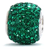 Authentic BELLA FASCINI Large Premium Pave Bead Charm - Silver - Fits Bracelets - Emerald Green Crystal