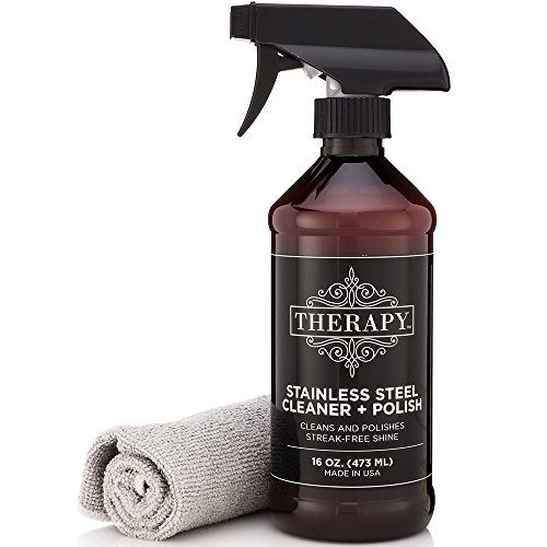 Therapy Premium Stainless Steel Cleaner & Polish - Includes Large Microfiber Cloth, 16 fl oz - Stainless Steel Sink Cleaner