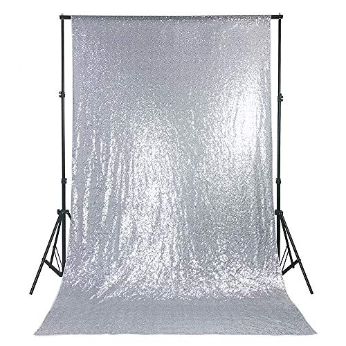 B-COOL Silver Sequin Backdrop 4ftx6.5ft Sequin Photo Booth Photography Backdrop Sparkly Sequin Curtain Backdrop for Halloween/Wedding/Party/Photography/Curtain/Birthday/Christmas/Prom/Other Event