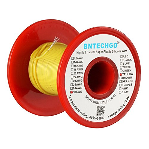 BNTECHGO 30 Gauge Silicone Wire Spool Yellow 50 feet Ultra Flexible High Temp 200 deg C 600V 30 AWG Silicone Rubber Wire 11 Strands of Tinned Copper Wire Stranded Wire for Model Battery Low Impedance