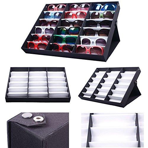 Lavenz 18PCS Eyewear Sunglass Organizer Box Jewelry Watches Display Storage Case For Women Men