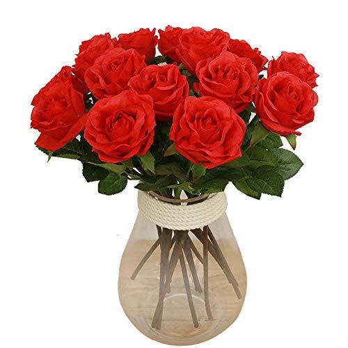 Bringsine Premium Artificial Flowers, Silk Flowers Artificial Rose Flowers Home Decorations Bridal Wedding Bouquet, Birthday Flowers Bunch Hotel Party Garden Floral Decor Red