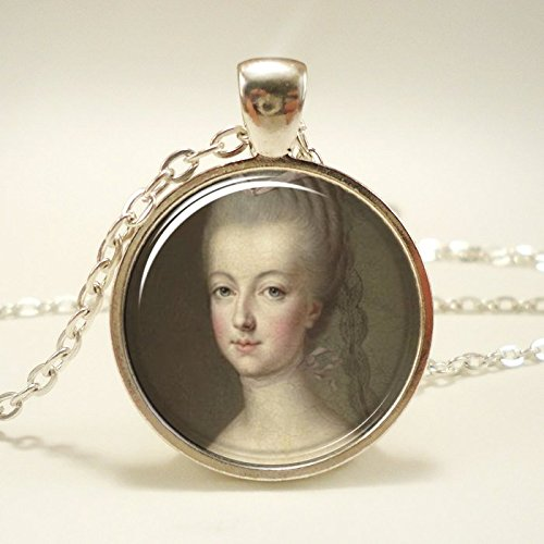Marie Antoinette Necklace, Art Pendant Charm With Necklace Chain, Silver Plate