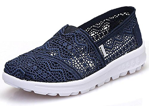 Loafers Size Slip Breathable GFONE On Running Sneakers Casual Color Flower Blue Trainers Hollow Women's Lace Classics Summer Floral Shoes Outdoor SwSUqYP