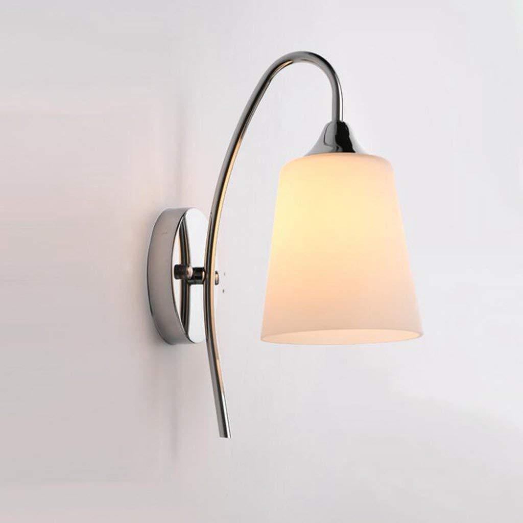 Irinay Schlafzimmer Nachttischlampe Wandleuchte Einem Kopf Glas Wandleuchte Lampenabdeckung Glas 10X10X24Cm (Farbe   Ohne Lichtquelle-Größe)