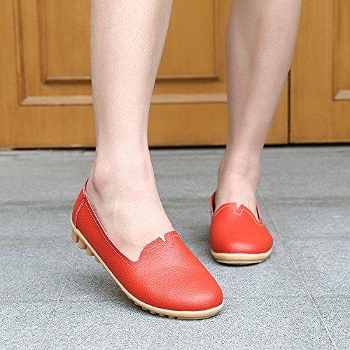 Loafers On Pelle Mocassini Scarpe Da Casuale Piatte Slip Gesimei Donna Rosso Guida fpqEwET