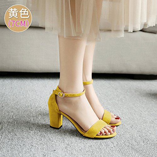 Des SHOESHAOGE High Avec Femme Des Et Sandales À Sandales Heeled Sangle Dew EU38 Chaussures Épais Toe wwAERzrq