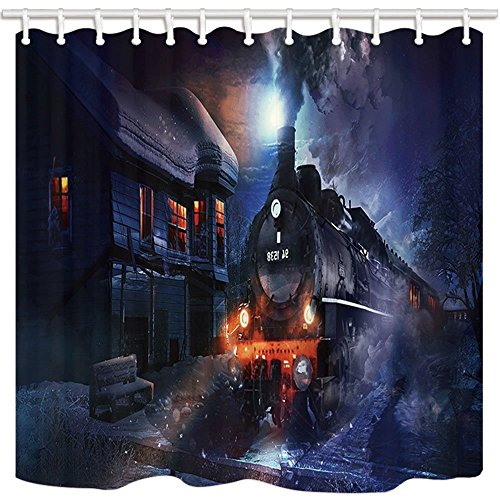 HiSoho Storybrooke Shower Curtain, Once Upon A Time Winter Steam Train Wooden House In Snow, Bathroom Mildew Resistant Polyester Fabric Waterproof Shower Curtain Set With Hooks, 71X71in