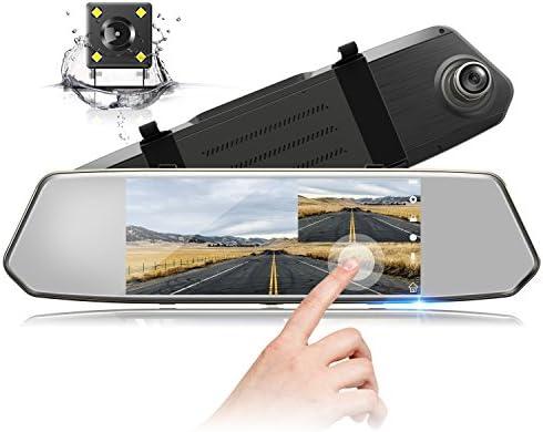 Syst/ème de Stationnement Cam/éra de Voiture Grand Angle avec Cam/éra Avant et Cam/éra Arri/ère /Étanche TOGUARD Dashcam Voiture R/étroviseur /Écran Tactile de 7 Pouces Cam/éra de recul Full HD 1080P