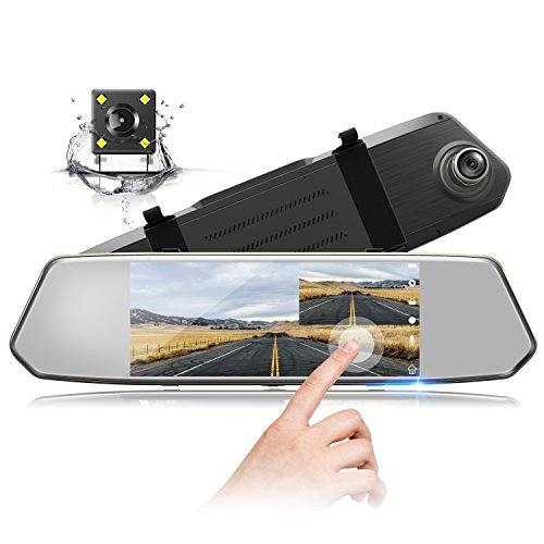 TOGUARD Backup Camera 7' Mirror Dash Cam Touch Screen 1080P Rearview Front and Rear Dual Lens with Waterproof Reversing Camera
