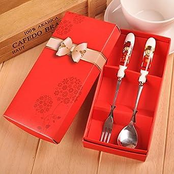 Chenxi Store Bone porcelana de acero inoxidable Tenedor Cuchara Vajilla Set – novia y novio